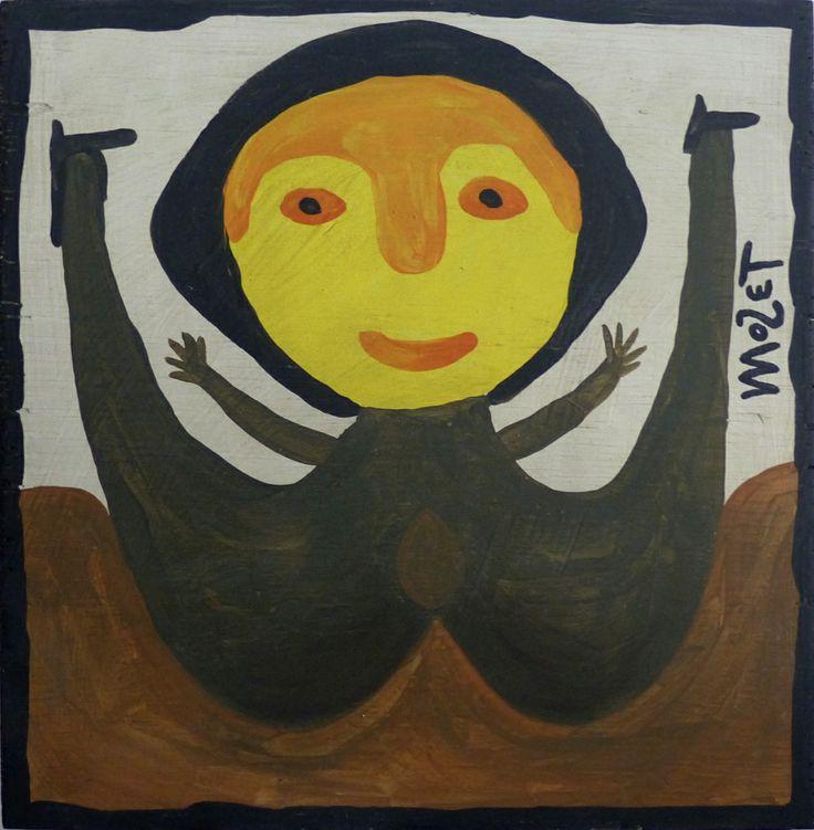 Eine Malerei des Afroamerikaners Mose Tolliver, der von 1920-2006 lebte. Ihm ist eine eigene Pinnwand gewidmet. Der Künstler erlitt einen schweren Unfall bei dem seine Beine verletzt wurden und brauchte zeitlebens Krücken. Arbeitsunfähig geworden, begann er als Mittel gegen die Langeweile zu malen und wurde einer der wichtigsten Aussenseiterkünstler der USA. Diese Arbeit, 40 x 40 cm, ist zu sehen auf www.aussenseiterkunst.ch.