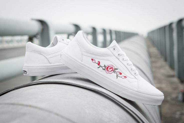 VANS X AMAC Customs High set of rose embroidery fashion casual couple models white TH06 35-4425 #Vans