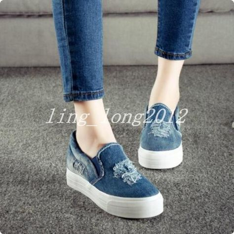 Hot Womens Denim Flats Loafers Sneakers Slip On Sports Jeans Athletic Shoes Pump