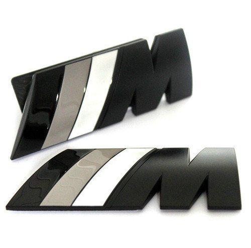 **CAR FASHION** BMW M SPORT BLACK Grill + Rear Badge Set Emblem Badge M3 M5 M6 E46 E36 E90 E92 E39 E60 E87 M POWER: Amazon.co.uk: Car & Motorbike