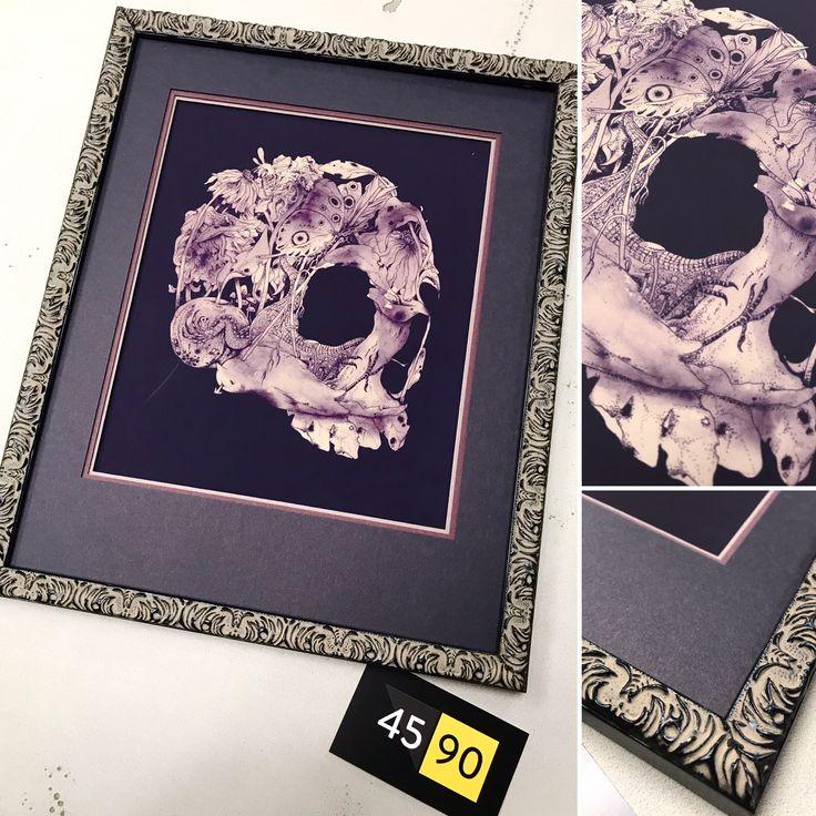 Custom framed art print Natureza Morta by Matheus Lopes. Multiple mats and ornate frame made by 45 90 Framing