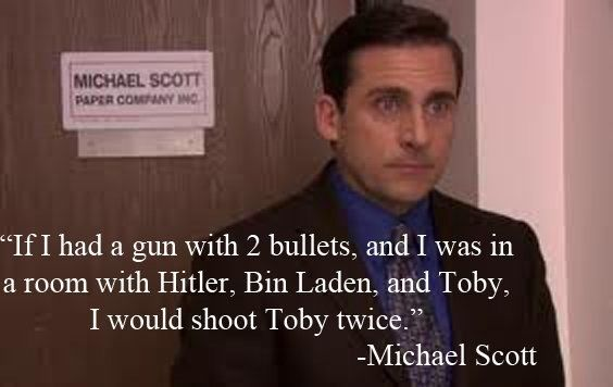 lmao Michael Scott's hate for Toby is so mean, yet so funny. The Office.