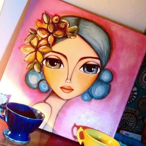 "Contemplando la tarde a través de la mirada de Sarah Un cuadro de @romi_lerda_art ""la mirada de Sarah"" 40 x 40 #romilerdart"