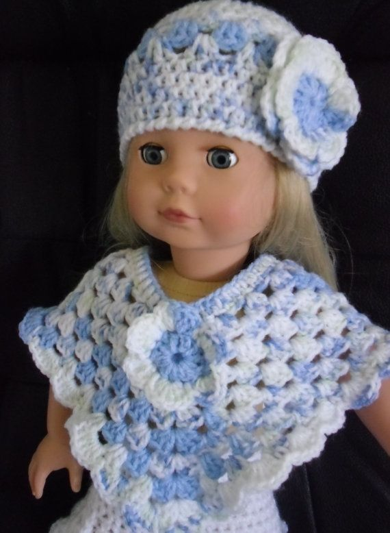PDF Crochet pattern for hat and poncho for 18 inch doll, American Girl doll, designer friend doll or Gotz doll