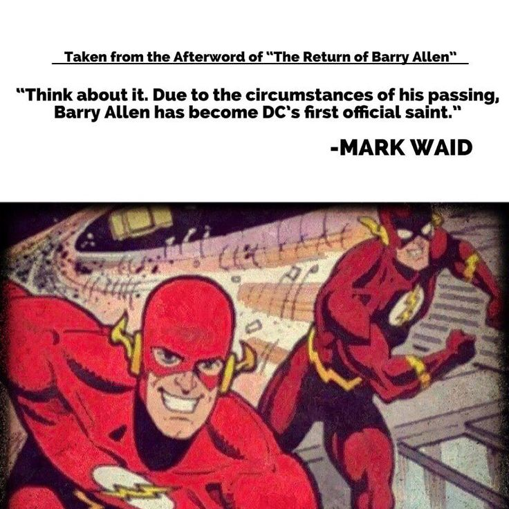 I just read the afterword to Mark Waids Return of Barry Allen storyline in which Eobard Thawne lands in the past during Wallys time as the Flash thinking he is Barry Allen. In the afterword (which is written in a quite funny way) he writes how he went almost insane over all the people telling him to bring Barry Allen back and the answer above to why he couldnt or wouldnt is so powerful it makes me think that maybe it was a mistake bringing Barry back outside of cross media reasons. How Waids…