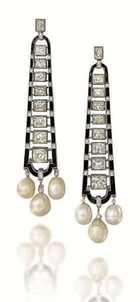 A Pair of Art Deco Onyx, Natural Pearl and Diamond Ear Pendants. Photo Christies Image Ltd 2013