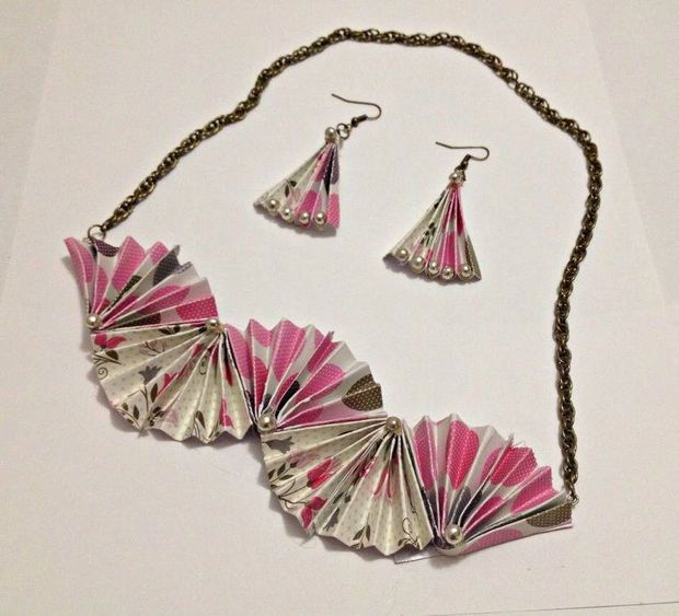 DIY Folded Paper Jewelry.  Picture of DIY Folded Paper Jewelry 548bcf849d29c9e2470000c5.jpeg 548bcf9b9d29c90da10000f7.jpeg These Jewelry is made up of card stock paper. I combined two different patterned card stock sheet to create contrast look. http://www.instructables.com/id/DIY-Folded-Paper-Jewelry/