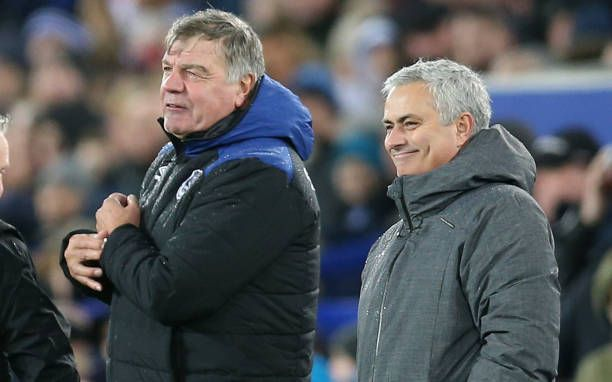 1st January 2018 Goodison Park Liverpool England EPL Premier League Football Everton versus Manchester United Sam Allardyce manager of Everton and...