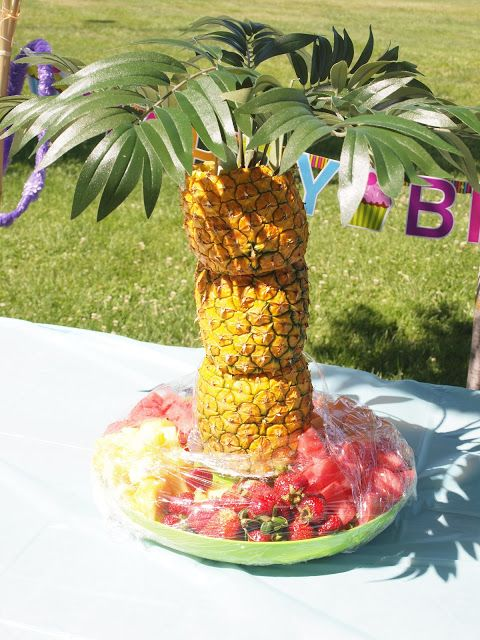 """Luau Party for Jose's Party  use skewers to hold together. leave bottom pineapple full? hollow out top two.  Leaves?...serve next to chocolate """"volcano"""""""