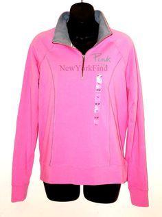 Nwt Victoria's Secret Love Pink Jacket Half Zip Sweater Shirt Yoga Track Gym Top