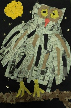 Owl Craft using newspaper & construction paper. {What fun with all those tear out strips!} The owl looks like he's ready to fly away.