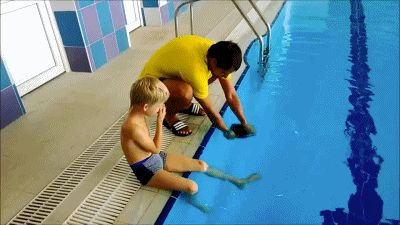 This guy getting his kid in the pool. | 35 GIFs Of Individuals Who Really Did Nail It