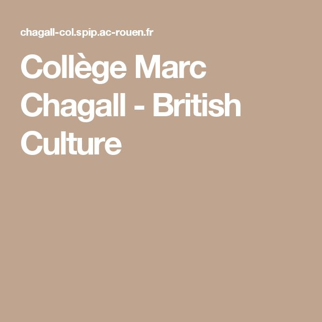 Collège Marc Chagall - British Culture