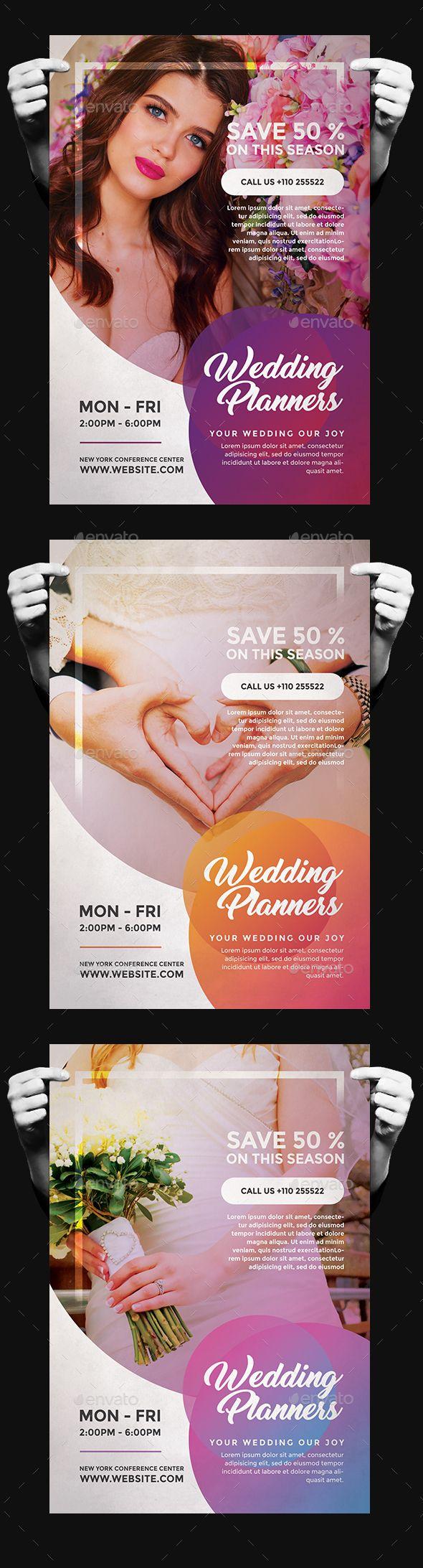 Wedding Planner Flyer Design Template - Commerce Flyers Design Template PSD. Download here: https://graphicriver.net/item/wedding-planner-flyer/19414210?ref=yinkira