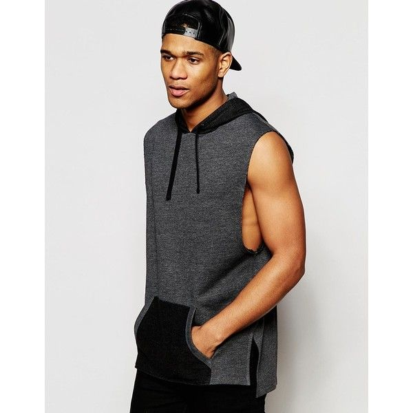 ASOS Longline Sleeveless Hoodie With Drop Armhole (45 AUD) ❤ liked on Polyvore featuring men's fashion, men's clothing, men's hoodies, grey, mens hoodies, mens sweatshirts and hoodies, mens tall hoodies and mens cotton hoodies