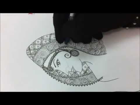 A quick way of drawing a dulhan art. You can also implement this artwork as dulhan mehndi designs on your hands.