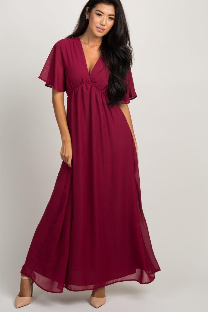 28f582a780 Teal Chiffon Bell Sleeve Maternity Maxi Dress