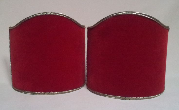 Pair of Clip-On Shield Shades Red Velvet Rubelli Fabric Mini Lampshade - Handmade in Italy by OggettiVeneziani on Etsy