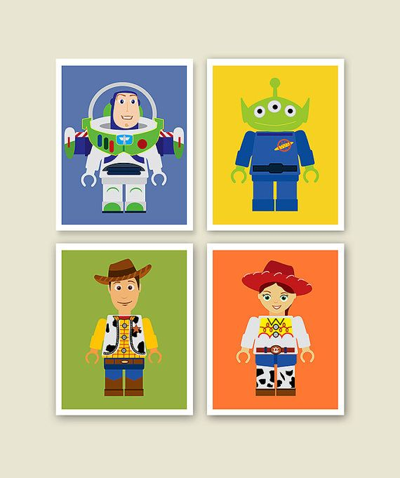 Set of Four Prints Lego Toy Story Nursery Art by BestPatternArt
