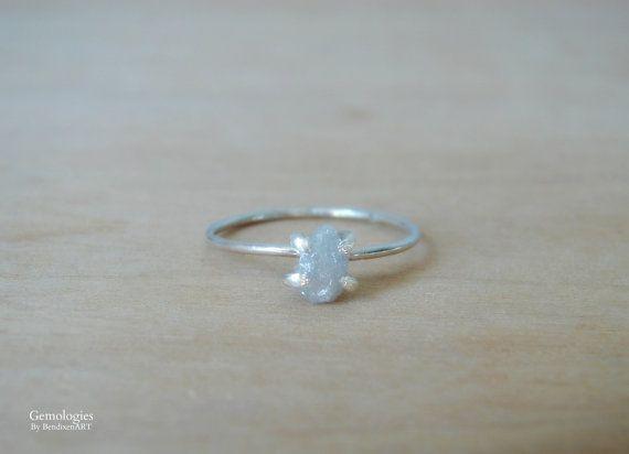 Ungeschliffener Diamant-Verlobungsring Petite roh von Gemologies