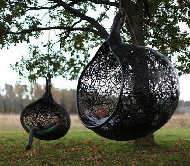 In the MANU Nest Hanging Chair.