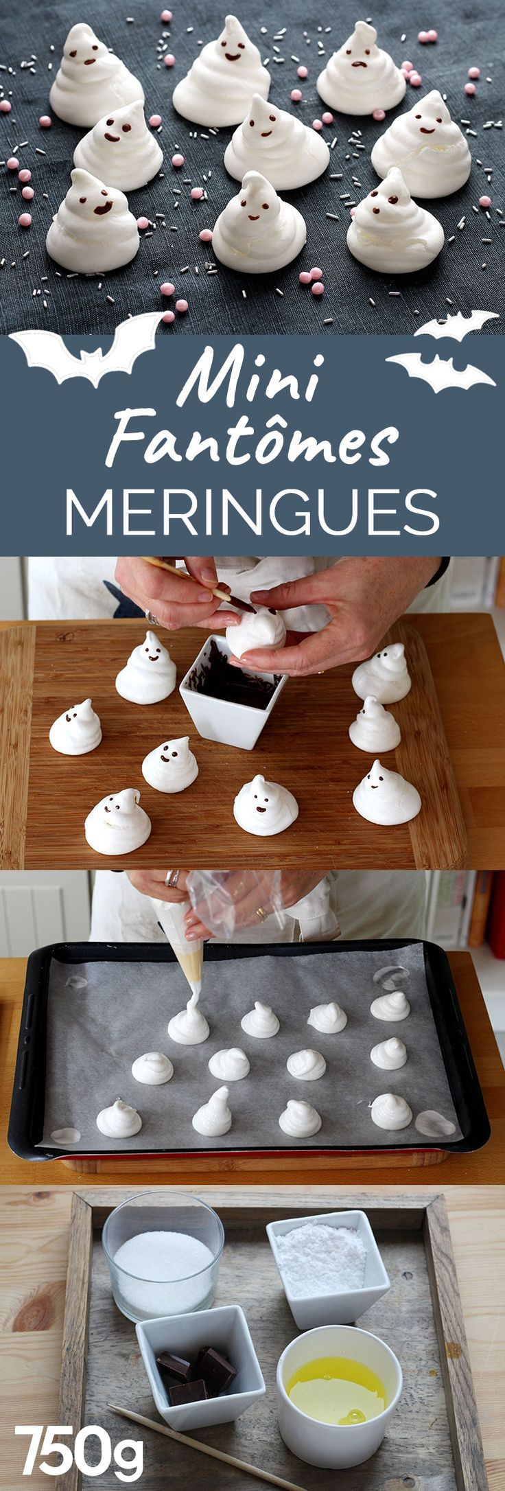 Des meringues décorées avec du chocolat fondu. Les enfants vont les adorer pour leur goûter d'Halloween.