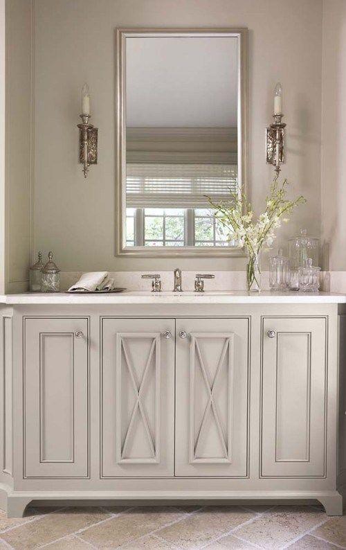 Gray painted vanity bathroom ideas pinterest gray for Bathroom cabinets greenville sc