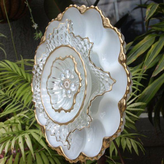 Glass Plate Flower repurpose vintage anchor Hocking egg plate