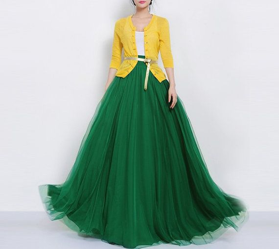 SALE Long Green Tulle Full Pleated Skirt A-line Maxi Bohemian Wedding Bridesmaid Party Holiday Prom Dress Flowy Swing Expansion Ball Gown on Etsy, $139.00