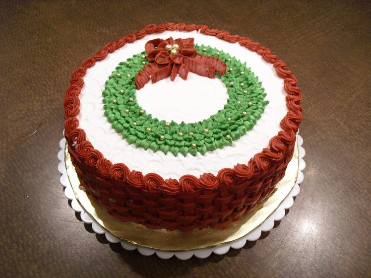 Christmas Cake Decorating With Buttercream : Basketweave buttercream wreath cake Mrs. Buttercream ...