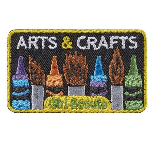 "2½"" x 1½"" Embroidered Patch. All Fun Patches are unofficial and are not to be worn on the front of the Girl Scout sash, vest or tunic. All fun patch designs are exclusively owned by Girl Scouts of the USA. #artsandcraftscouncil,"