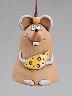 Céramique Bell Mouse, la souris avec fromage, jouets enfants, accessoires d'école