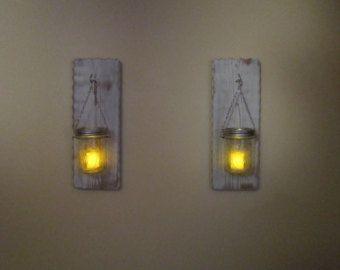 Candelabros velas rústicas tarro de masón de por RustiqueSigns