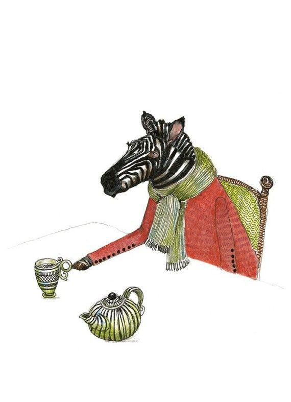 Zebra Print Zebra Tea Time illustration Print by ChasingtheCrayon, £12.00