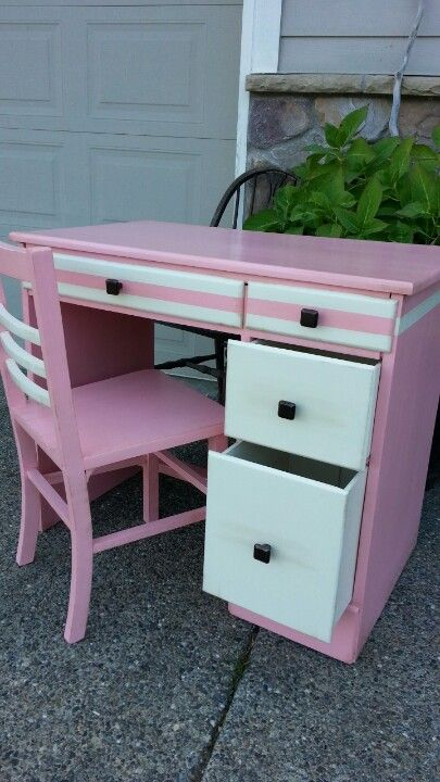 Repainted desk and chair in sweet pink with creamy white drawers for a little girl's vanity  { Follow City Chicken on Facebook }