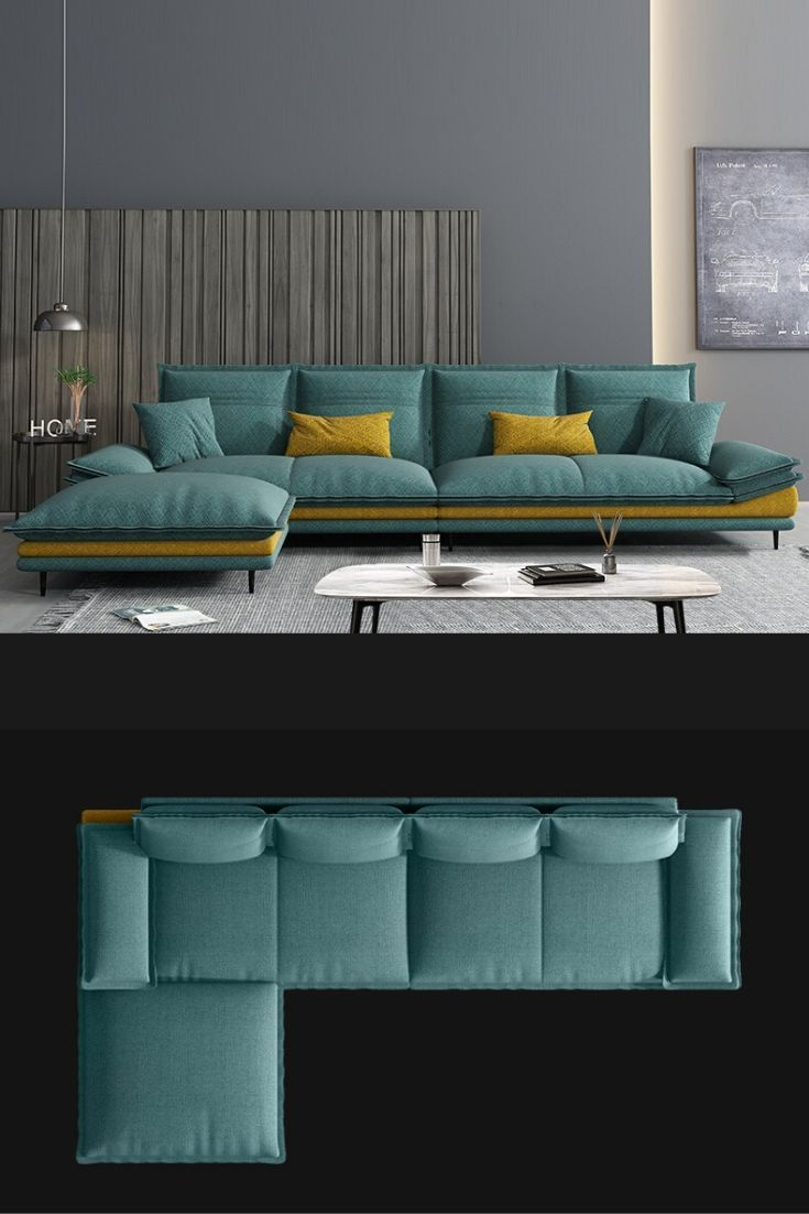 Luxury Green L Shape Fabric Sofa Coach In 2020 Living Room Sofa Design Living Room Design Modern Living Room Decor Apartment