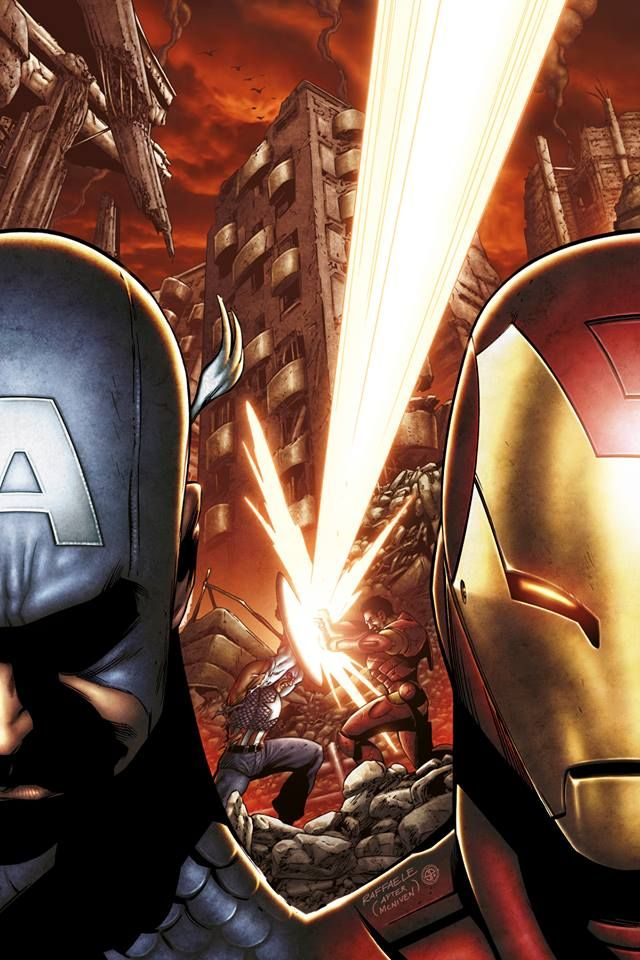 Civil War - Captain America and Iron Man by Stefano Raffaele, colours by Simone Peruzzi *