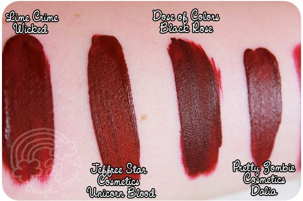Lime Crime - Wicked, Jeffree Star - Unicorn Blood, Dose of Colors - Black Rose, Pretty Zombie Cosmetics - Dalia