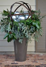 christmas outdoor decor . holiday urn decorations