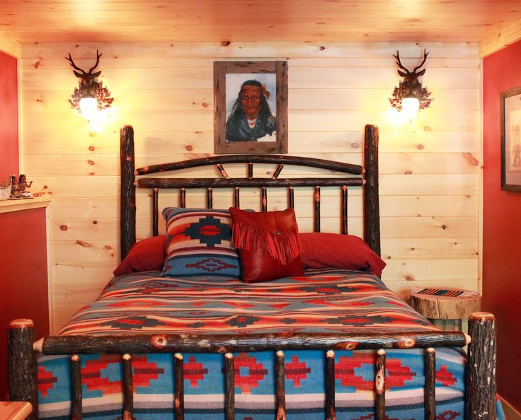 This Southwestern Bedroom/guest Room Is Fully Furnished And Decorated By  Roughing It In Style