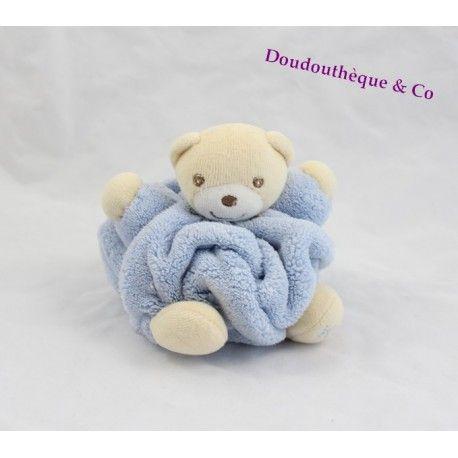 Mini doudou ours KALOO bleu clair plume attache tétine 12 cm