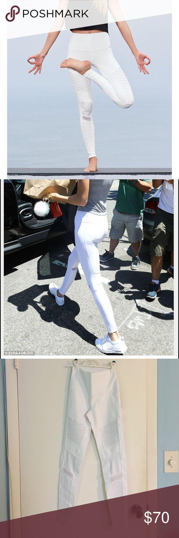 Alo yoga moto leggings High waist white moto legging. NEW WITH TAGS. ALO Yoga Pants Leggings