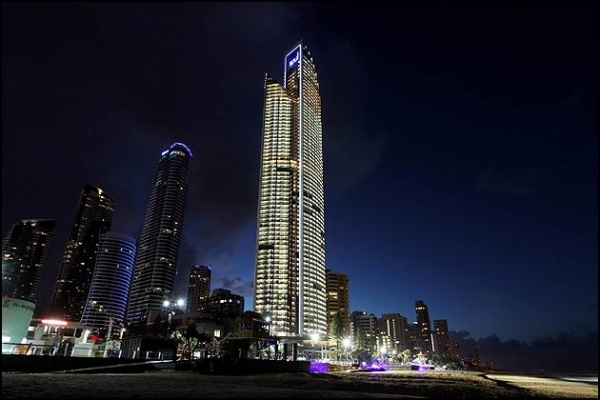 The Gold Coast's newest highrise Soul, all lit up for the first time.