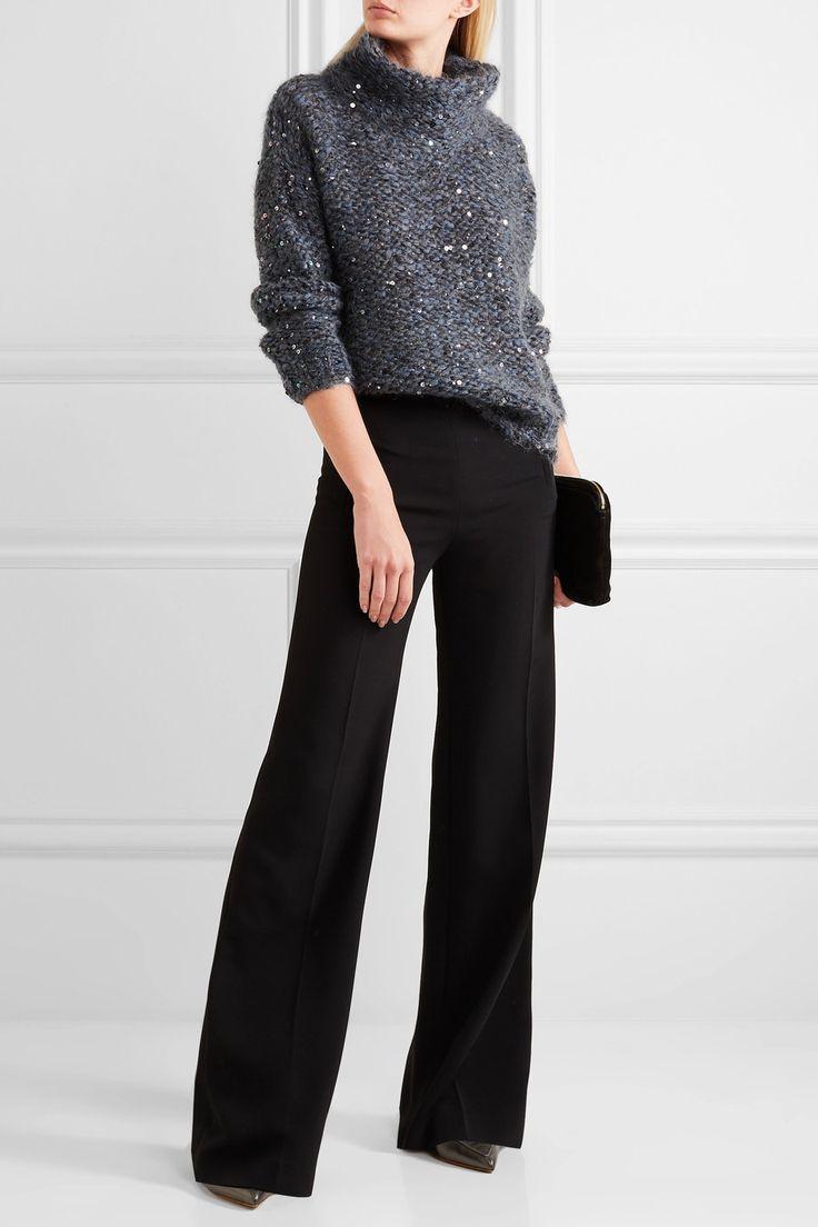Brunello Cucinelli | Sequined chunky-knit turtleneck sweater | NET-A-PORTER.COM
