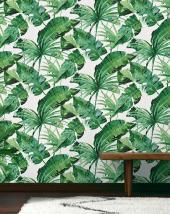 Papier peint TROPIK Vinyle sur Intissé motif tropical, Vert trèfle | Saint Maclou