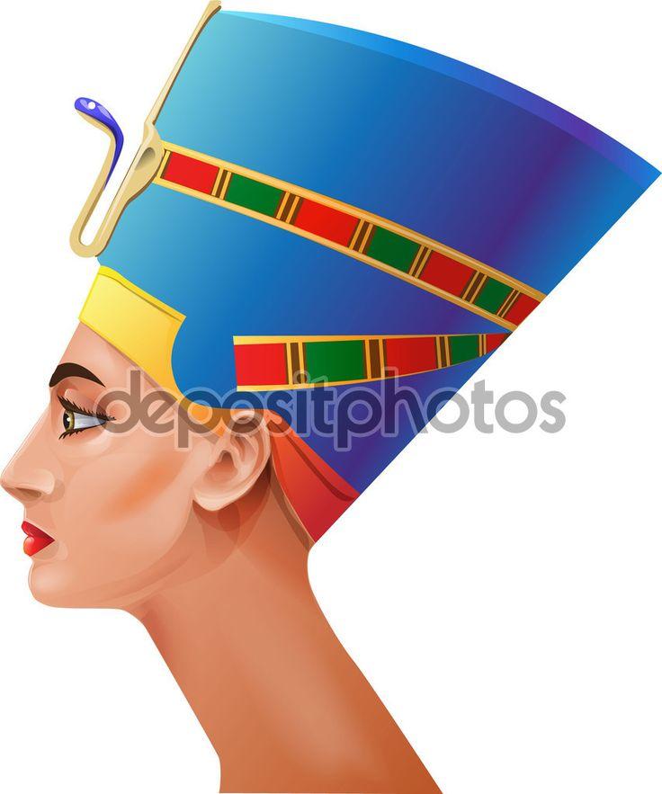A cabeça da rainha egípcia em um fundo branco