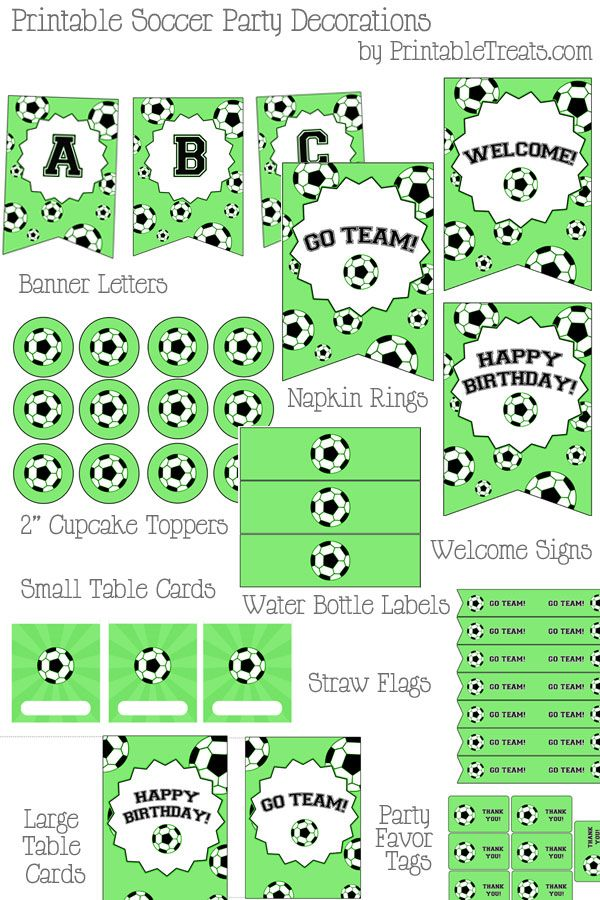 Printable Soccer Party Decorations - Printable Treats