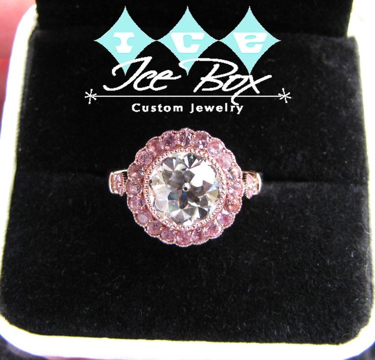 Moissanite Engagement Ring 8.5mm 2.5ct Round Forever Brilliant OEC Old European Cut  in a 14K Rose Gold Milgrain Pink Sapphire Halo Setting