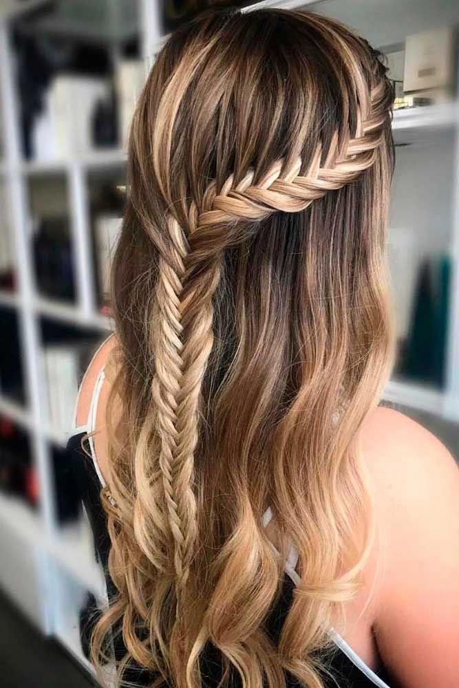 Fishtail Braided Half Up #braidedhairstyles #longhairstyles #braidsforlonghair