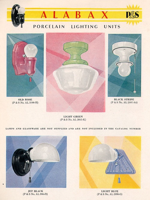 History of porcelain lighting in 1920's, 1930's and 1940's homes.  We have some of these in the new house!!!